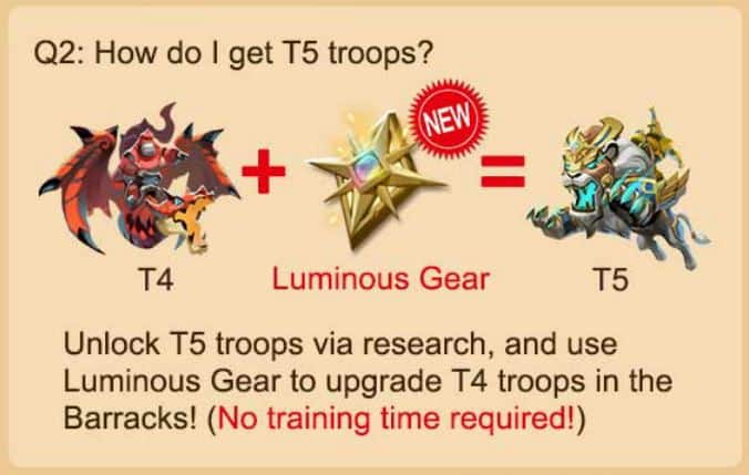 How do I get t5 troops